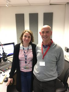 Sarah Walker of BBC Radio Berkshire with Dr David Purves of Berkshire Psychology Service.